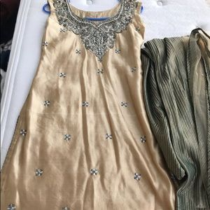 Dresses & Skirts - FINAL SALE Beige and green Indian outfit
